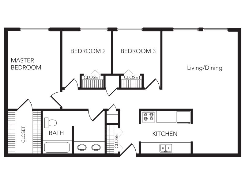 Our Three Bedroom is a 3 Bedroom, 1 Bathroom Apartment