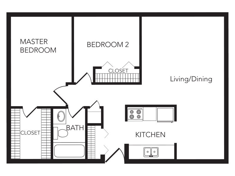 Our Two Bedroom is a 2 Bedroom, 1 Bathroom Apartment