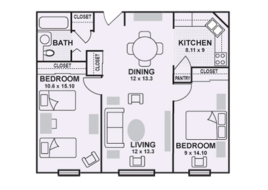 Floorplan for Lilac Apartments