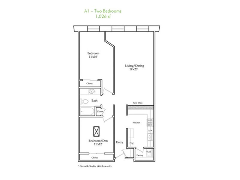 Our A1 is a 2 Bedroom, 2 Bathroom Apartment