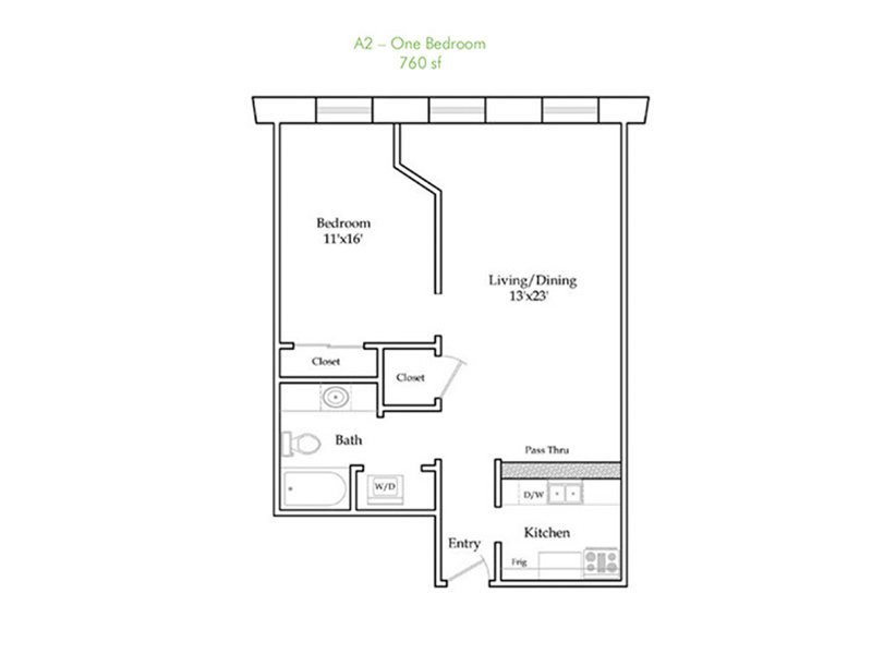Our A2 is a 1 Bedroom, 1 Bathroom Apartment