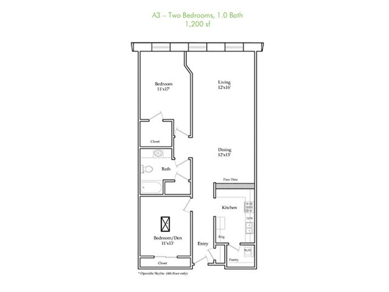 Our A3 is a 2 Bedroom, 2 Bathroom Apartment