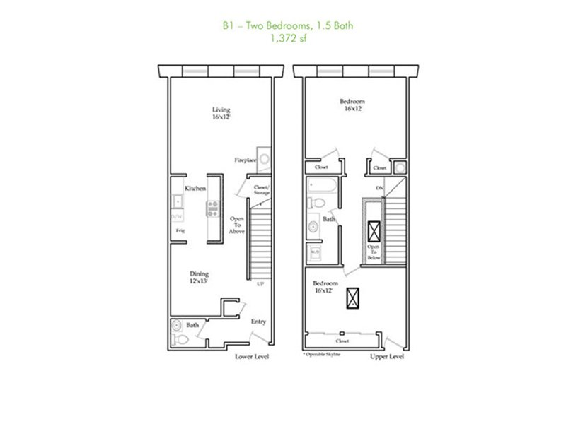 Our B1-R is a 2 Bedroom, 2 Bathroom Apartment