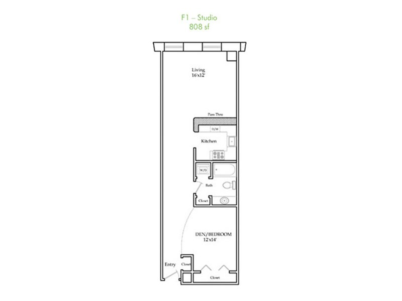 Our F1-R is a Studio Bedroom, 1 Bathroom Apartment