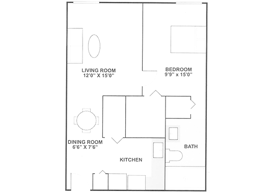 Floorplan for Ridgewood Towers Apartments