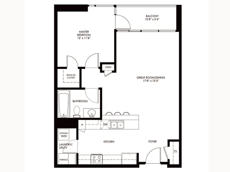 Our A1 is a 1 Bedroom, 1 Bathroom Apartment