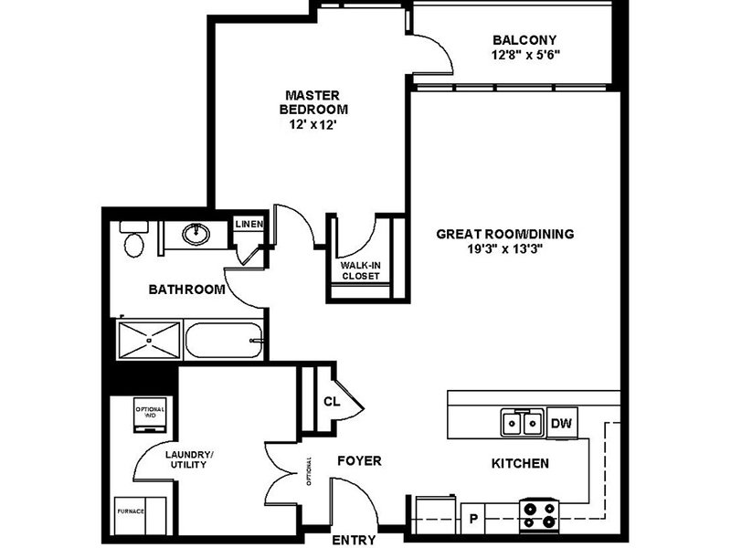 Our A4 is a 1 Bedroom, 1 Bathroom Apartment