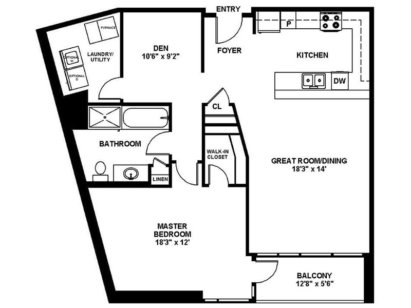 Our A7 is a 1 Bedroom, 1 Bathroom Apartment