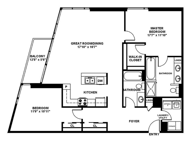 Our B5 is a 2 Bedroom, 2 Bathroom Apartment