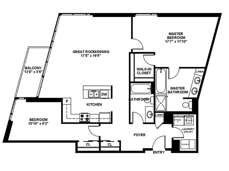 Our B6 is a 2 Bedroom, 2 Bathroom Apartment