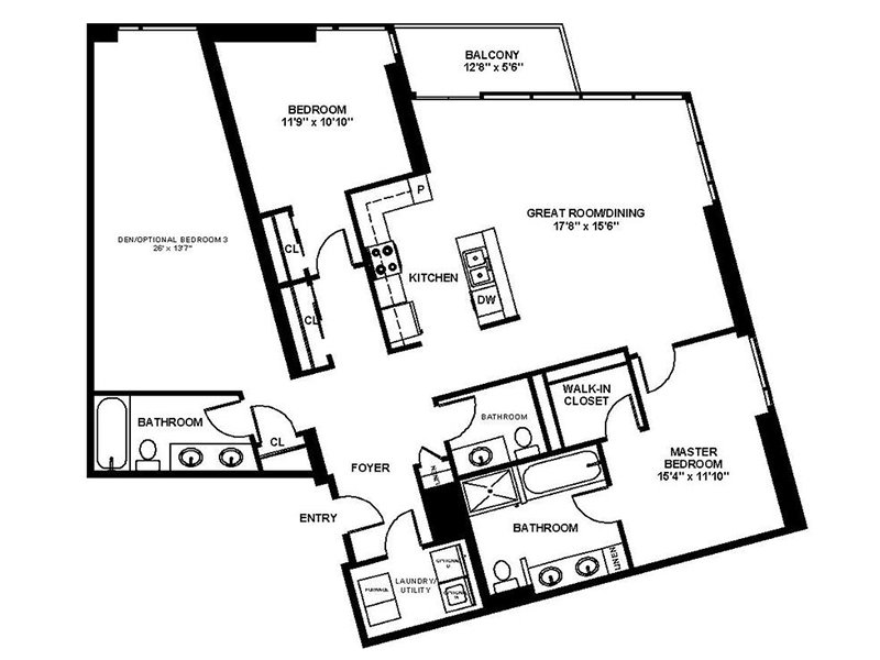 Our B9 is a 2 Bedroom, 2 Bathroom Apartment