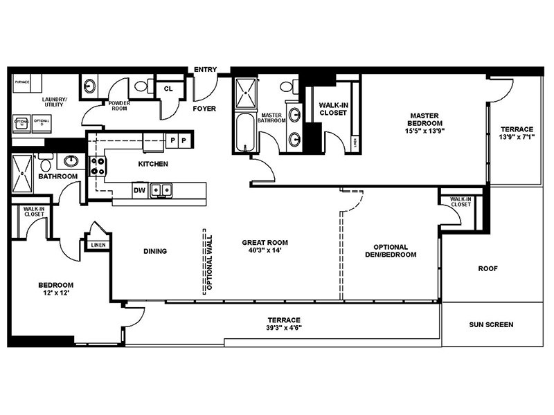 Our C1 is a 3 Bedroom, 2 Bathroom Apartment