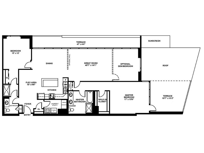 Our C2 is a 3 Bedroom, 2 Bathroom Apartment
