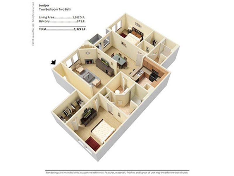 Our juniper is a 2 Bedroom, 2 Bathroom Apartment