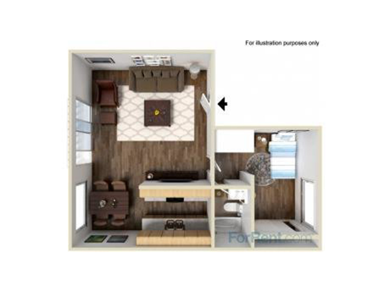 Our A1-630 is a 1 Bedroom, 1 Bathroom Apartment