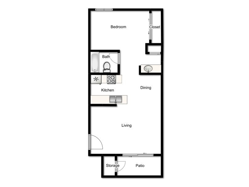 Our 1X1-640 is a 1 Bedroom, 1 Bathroom Apartment