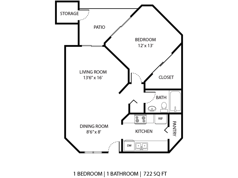 Our 1x1 W/D is a 1 Bedroom, 1 Bathroom Apartment