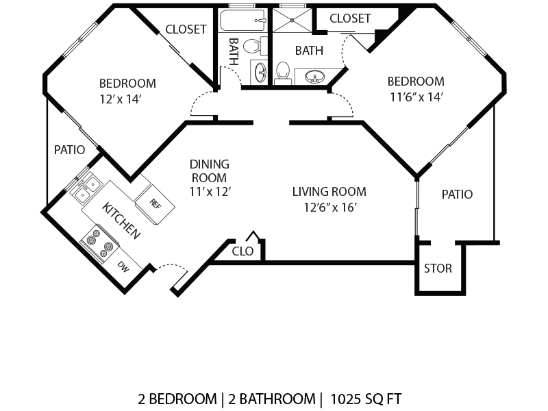 Our 2x2 Small W/D is a 2 Bedroom, 2 Bathroom Apartment