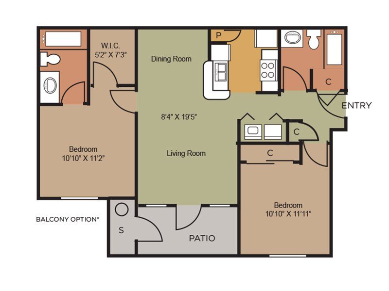 Our b3 is a 2 Bedroom, 2 Bathroom Apartment