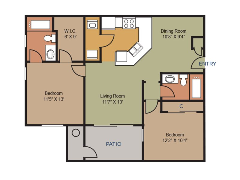 Our b4 is a 2 Bedroom, 2 Bathroom Apartment