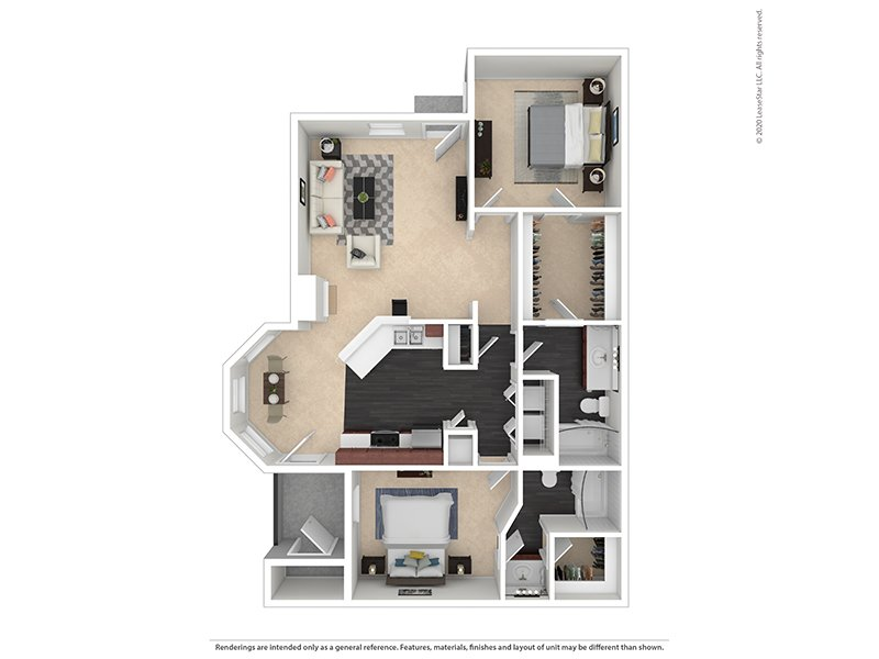 Our 2X2-1152 Platinum is a 2 Bedroom, 2 Bathroom Apartment