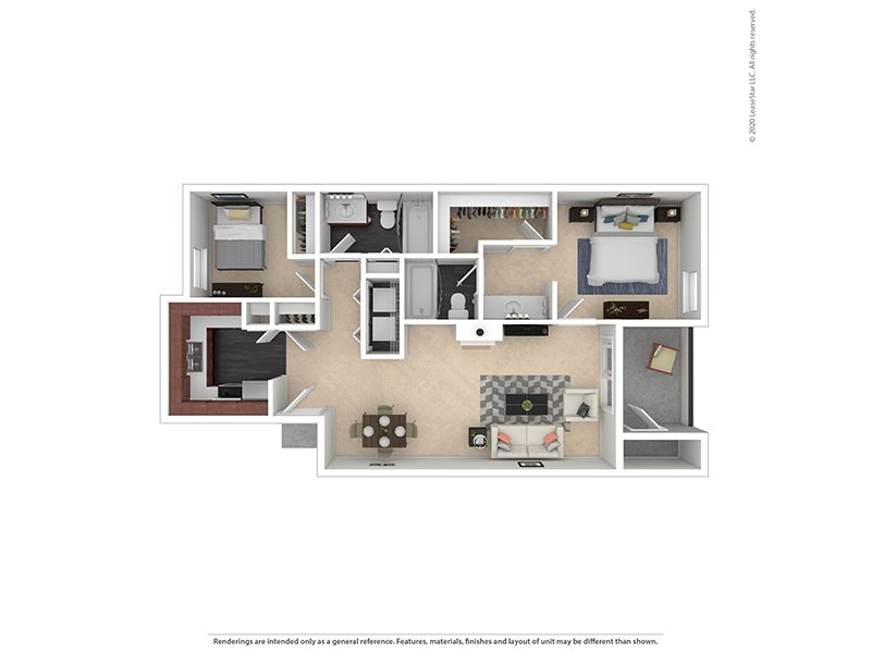Our 2X2-1158 Platinum is a 2 Bedroom, 2 Bathroom Apartment
