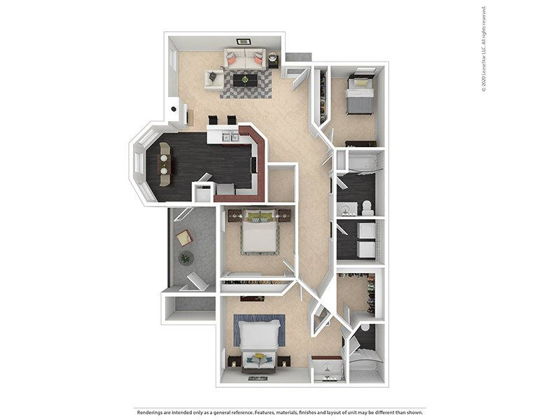 Our 3X2-1384 Platinum is a 3 Bedroom, 2 Bathroom Apartment