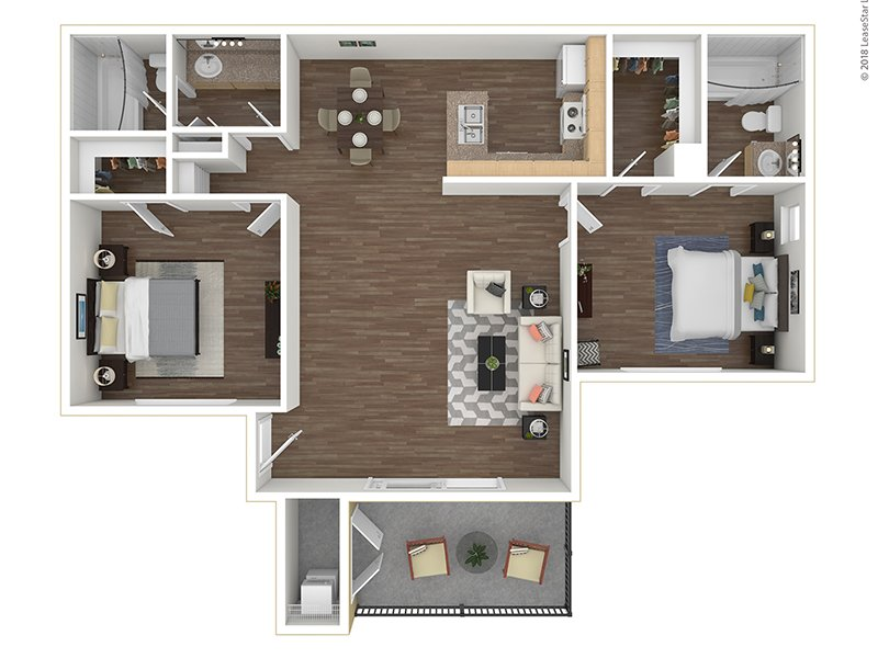 Our B2-950 is a 2 Bedroom, 2 Bathroom Apartment