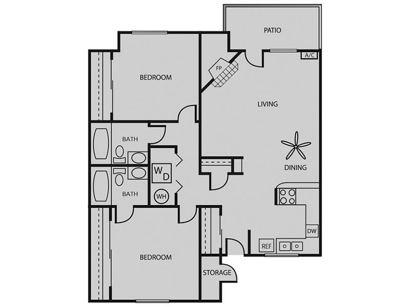 Our Blue Spruce W/D 2x2 is a 2 Bedroom, 2 Bathroom Apartment