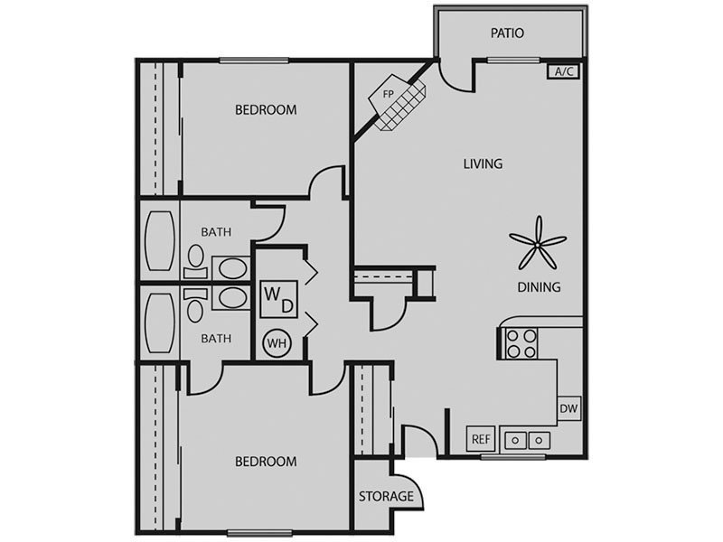 Our Pinion 2x2 W/D Renovated Plus is a 2 Bedroom, 2 Bathroom Apartment