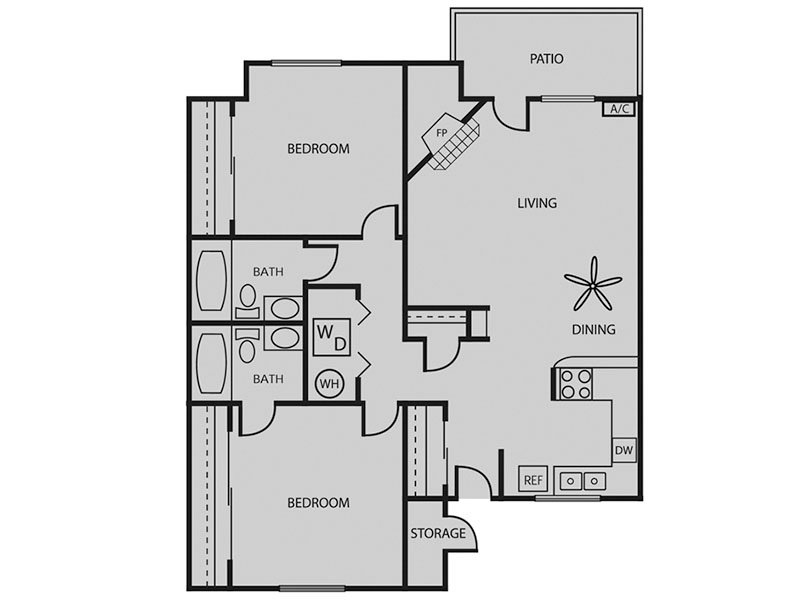 Our Sequoia 2x2 W/D is a 2 Bedroom, 2 Bathroom Apartment