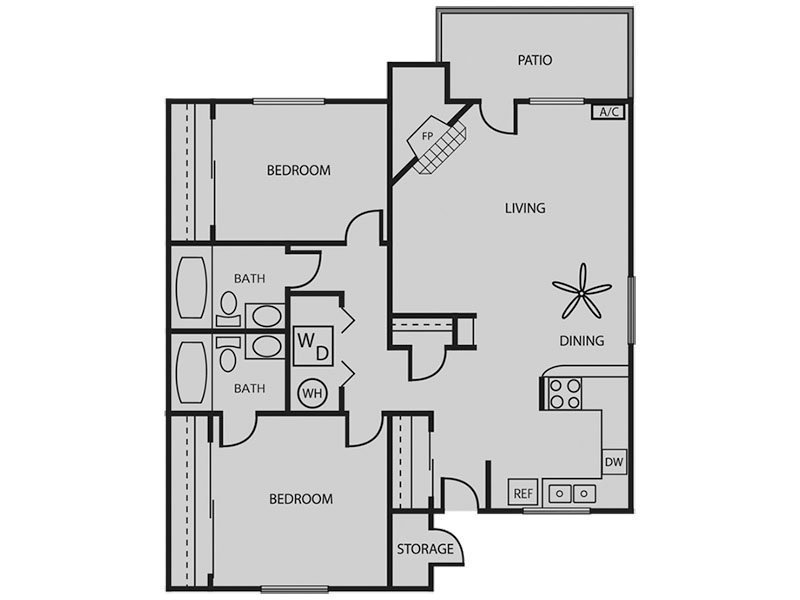 Our Willow 2x2 W/D Renovated Plus is a 2 Bedroom, 2 Bathroom Apartment