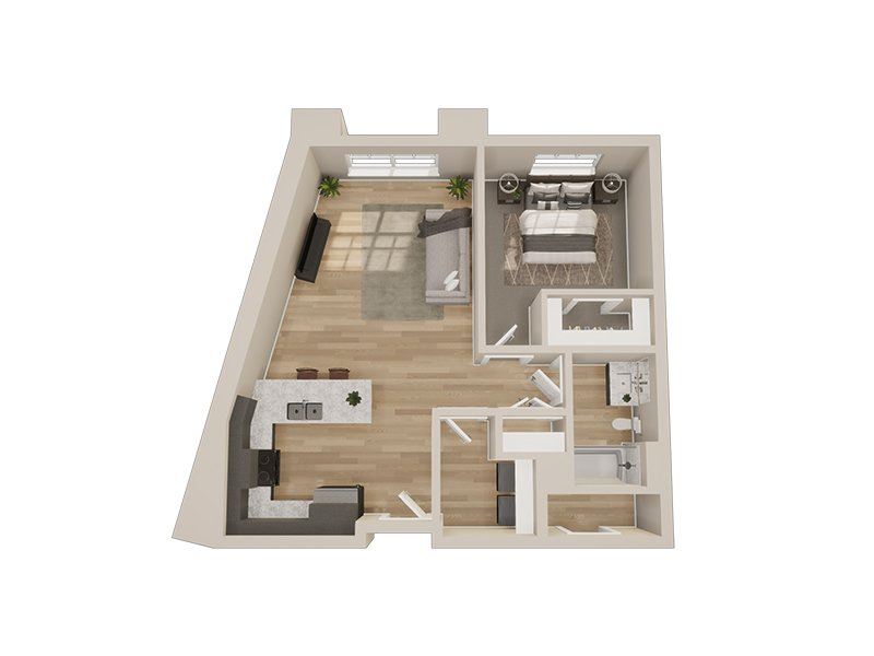 Our 1D is a 1 Bedroom, 1 Bathroom Apartment