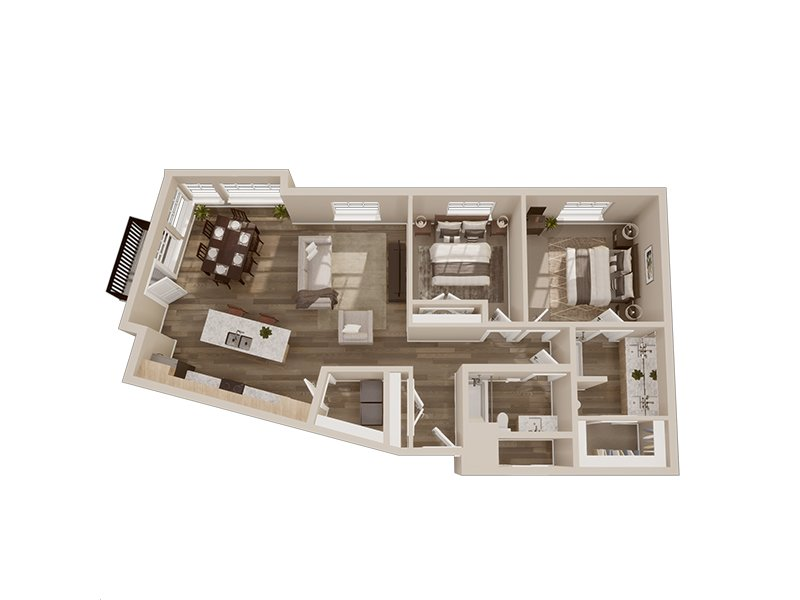 Our 2D is a 2 Bedroom, 2 Bathroom Apartment