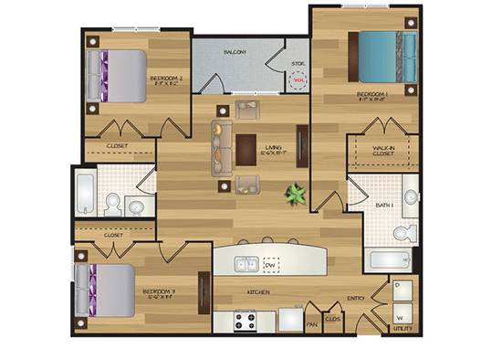 Floorplan for Cascadia Apartments