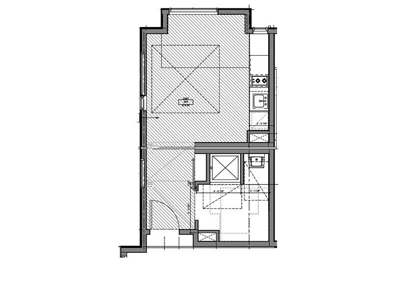 Our Corner Unit ADA is a Studio, 1 Bathroom Apartment