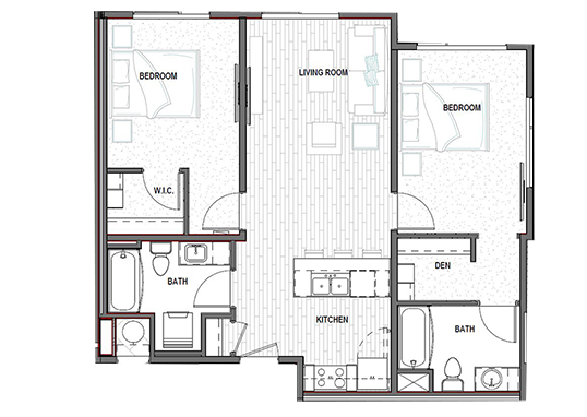 Floorplan for District North Apartments