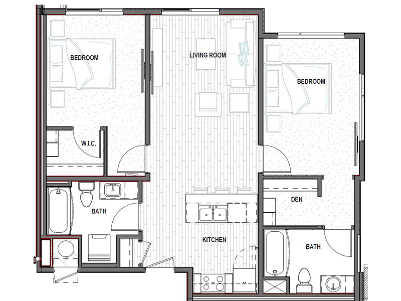 Our 2C is a 2 Bedroom, 2 Bathroom Apartment