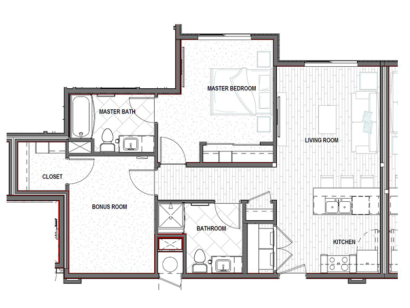 Our 2x2 NW is a 2 Bedroom, 2 Bathroom Apartment