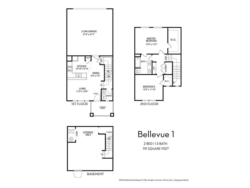 Our Bellevue 1 is a 2 Bedroom, 1.5 Bathroom Apartment