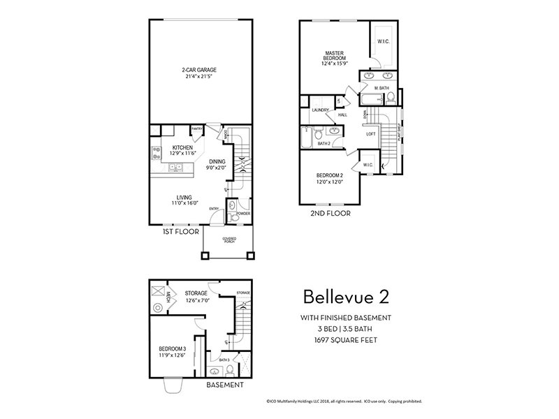 Our Bellevue 2 w/ Finished Basement is a 3 Bedroom, 3.5 Bathroom Apartment