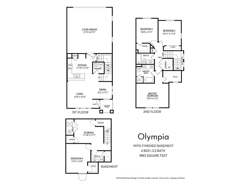 Our Olympia w/ Finished Basement is a 4 Bedroom, 3.5 Bathroom Apartment