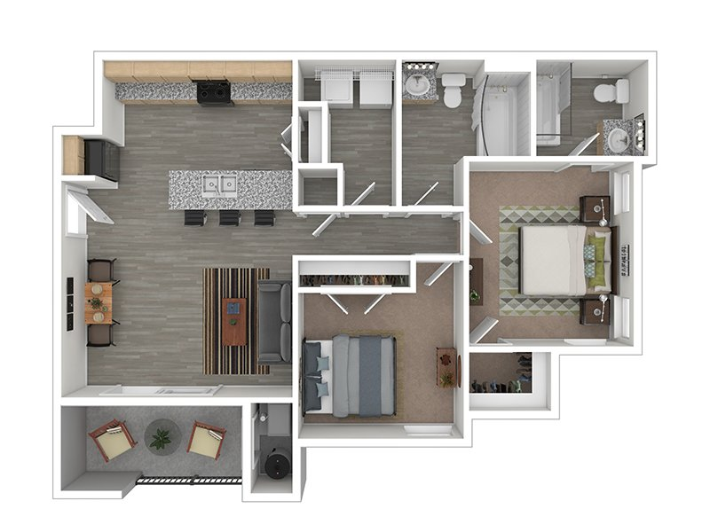 Our The Cottonwood is a 2 Bedroom, 2 Bathroom Apartment