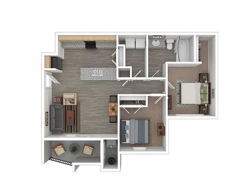Our The Marigold is a 2 Bedroom, 1 Bathroom Apartment
