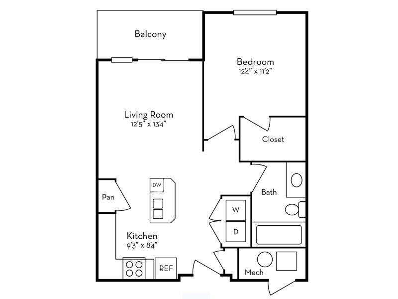 Our 1 Bedroom (1-1) is a 1 Bedroom, 1 Bathroom Apartment