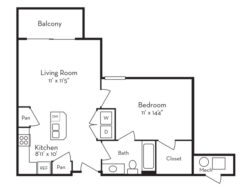 Our 1 Bedroom (1-2) is a 1 Bedroom, 1 Bathroom Apartment