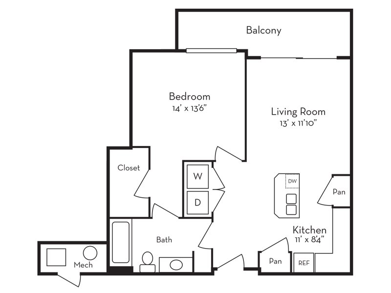 Our 1 Bedroom (1-3) is a 1 Bedroom, 1 Bathroom Apartment