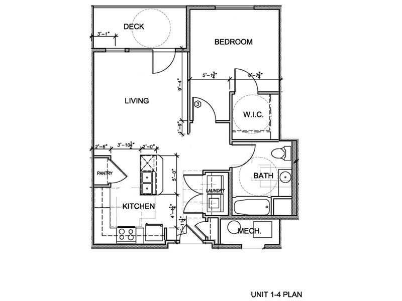 Our 1 Bedroom (1-4) is a 1 Bedroom, 1 Bathroom Apartment