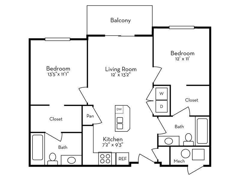 Our 2 Bedroom (2-1) is a 2 Bedroom, 2 Bathroom Apartment
