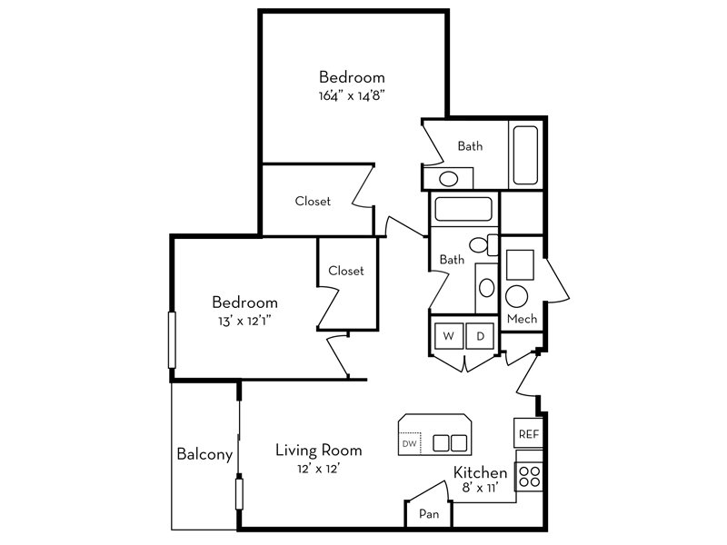 Our 2 Bedroom (2-2) is a 2 Bedroom, 2 Bathroom Apartment